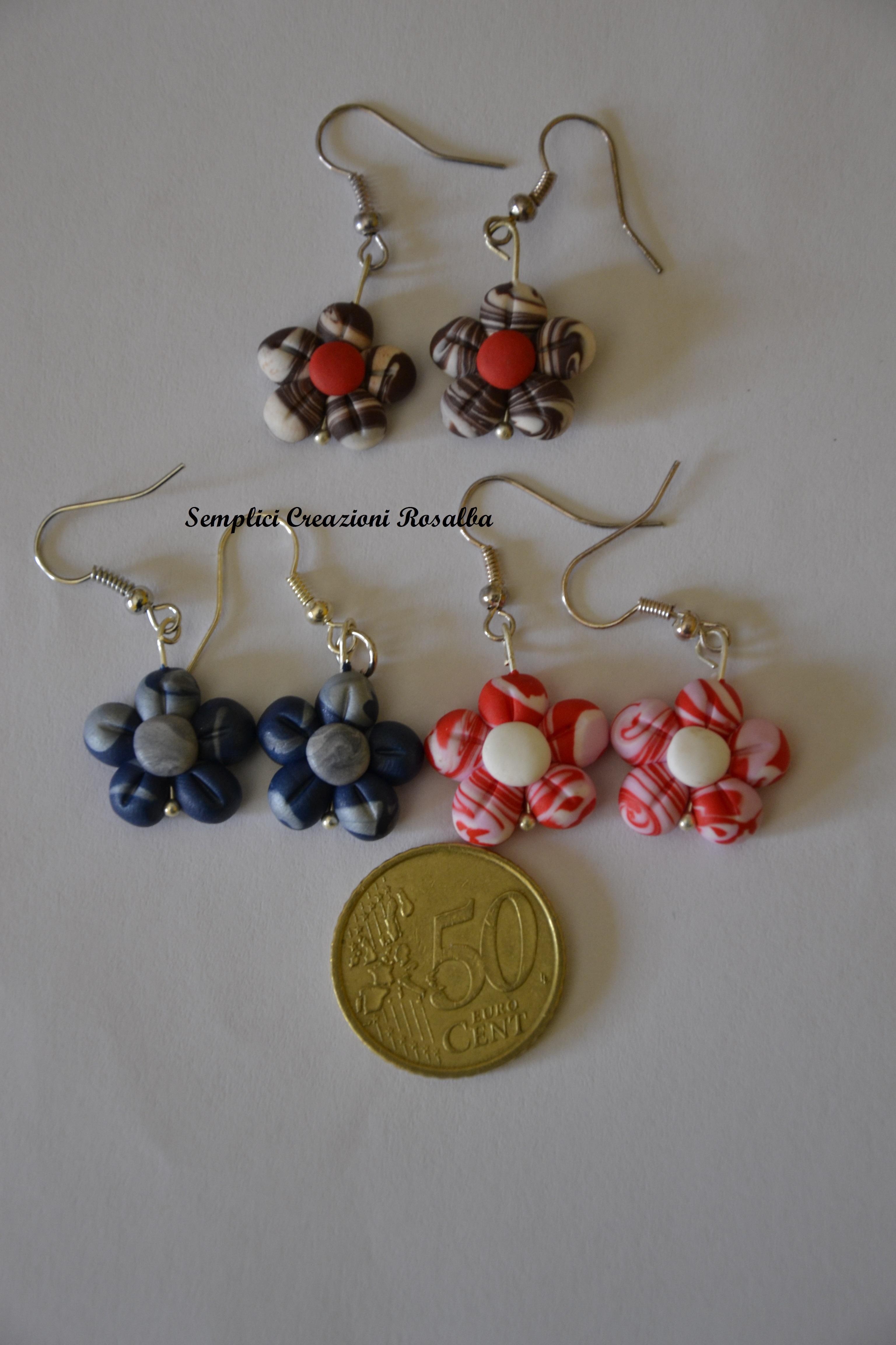 orecchini in fimo fiore, diversi colori disponibili.