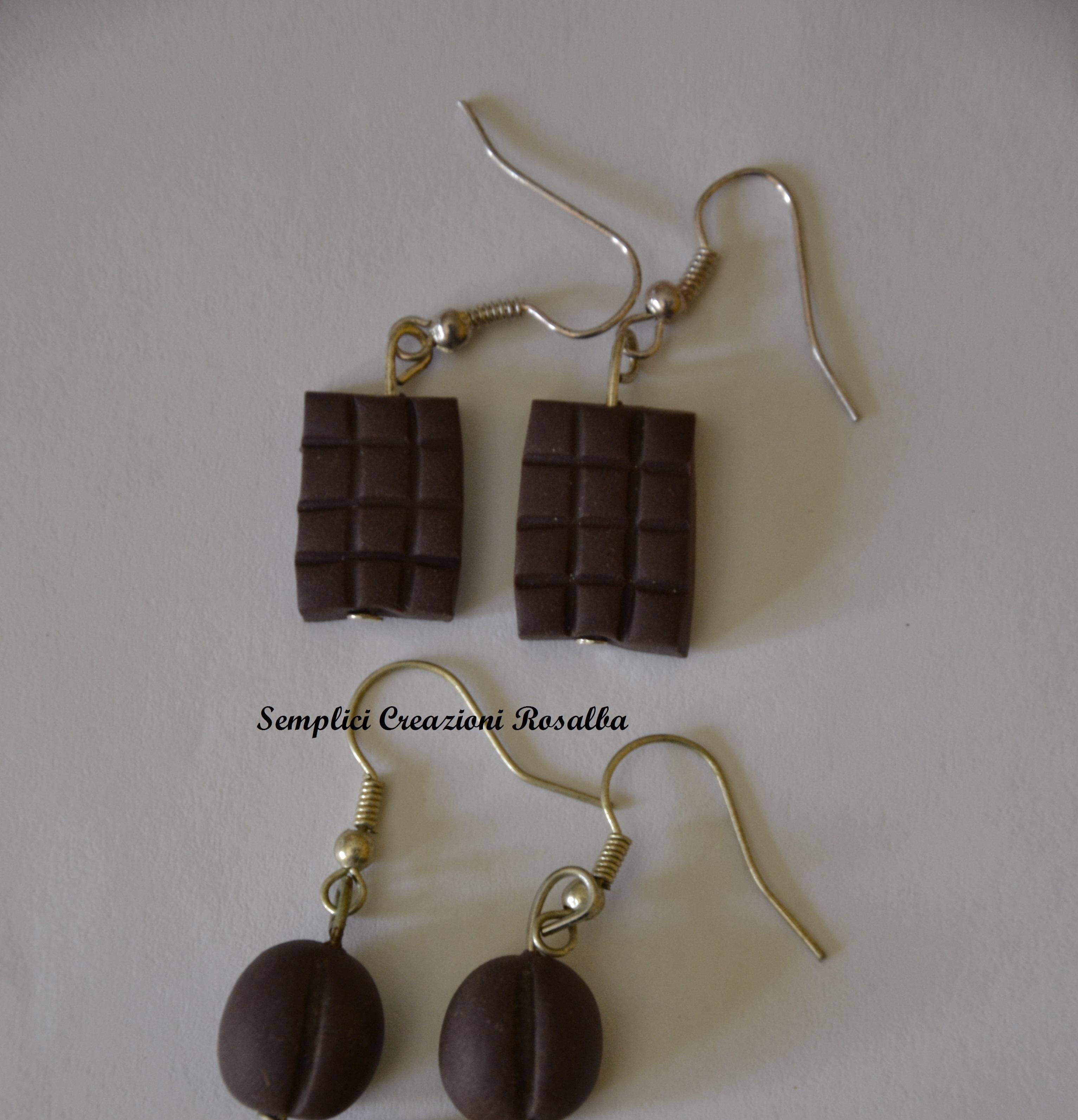 orecchini fimo caffè e cioccolato