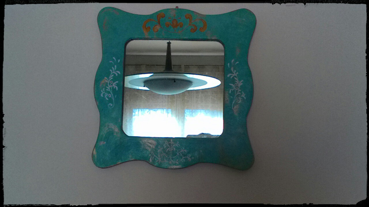 specchio vintage dipinto a mano