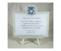 Cavalletto con targhetta in azzurro - regalo bomboniera madrina padrino Battesimo