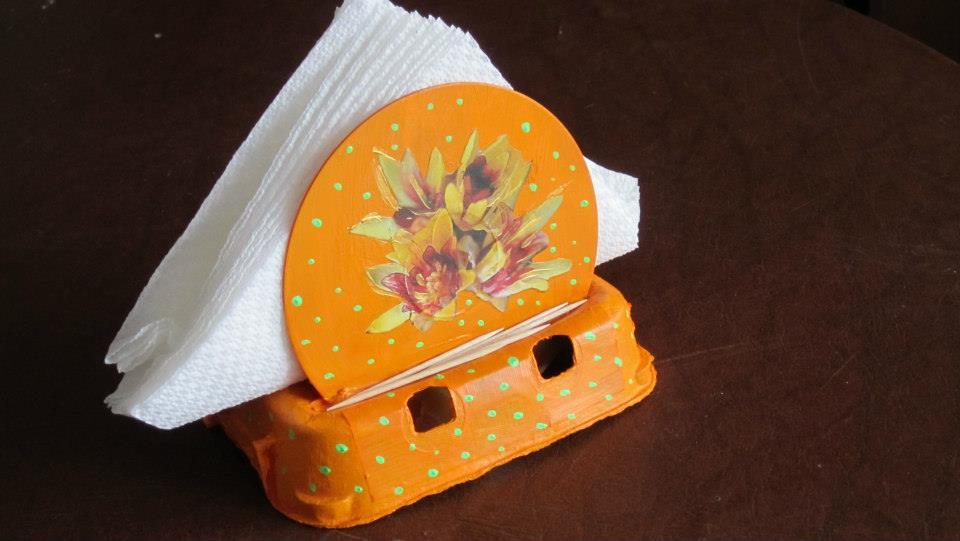 Portatovaglioli fantasia arancione - fiori