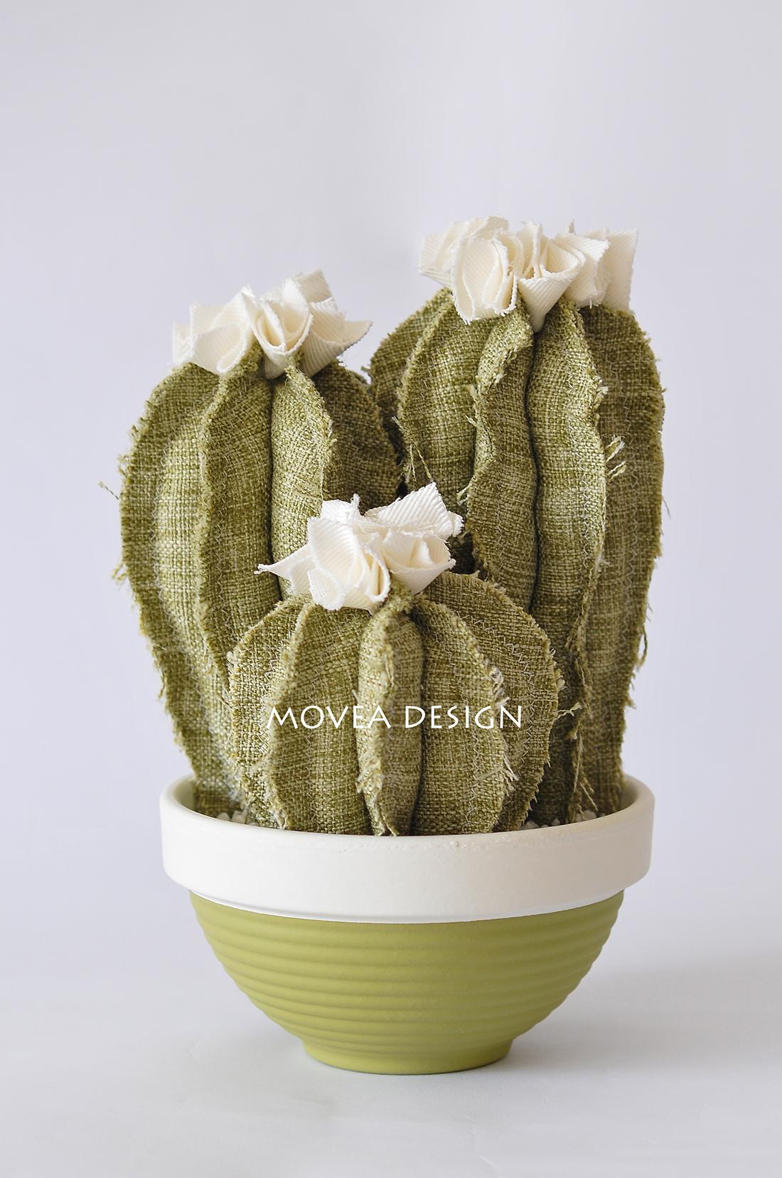 Tris cactus artificiali in tessuto color verde salvia