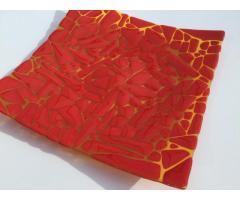 Centrotavola, Piatto, 39x39x6, Collezione: Shattered, giallo trasparente, rosso porpora