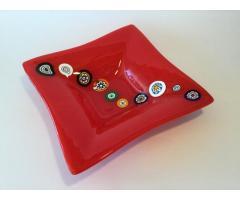 Centrotavola, Piatto, 30x30x6, Collezione: Rosso con Murrine