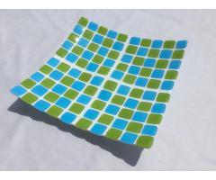 Centrotavola, Piatto, 39x39x6, Collezione: 100, bianco, acquamarina, verde