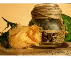 PORTACANDELE all'aroma di caffè,juta,vetro,corda,chicchi di caffè