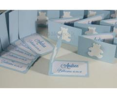 Set di 15 biglietti con orsetto per confetti bomboniere battesimo comunione